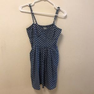 Blue dress with white polka dots!